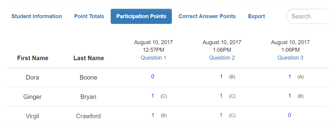ClassQuestion has an easy to use gradebook feature