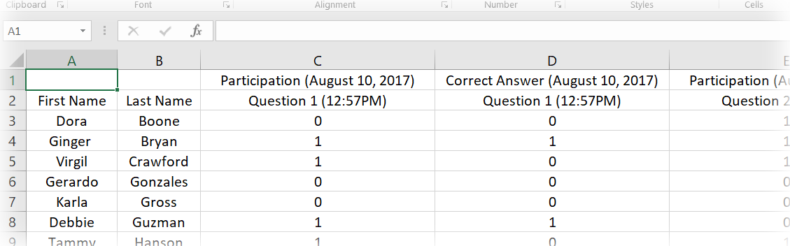 Export student participation points and aswers to a spreadsheet